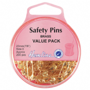 Hemline Safety Pins - 23mm long - Brass - Value Pack of 200